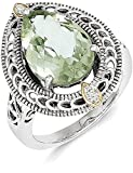 ICE CARATS 925 Sterling Silver 14k Diamond Green Quartz Band Ring Size 7.00 Stone Gemstone Fine Jewelry Gift Set For Women Heart