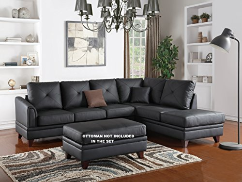 Cargan 2-pieces Sectional Sofa set Upholstered in Genuine Black (Genuine Leather Living Room)