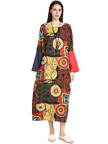 Floral Print Kaftan - SIMSHION Womens Elegant Vintage Plus Size Maxi Long Dress Floral Print Kaftan Long Gown Floral 2XL