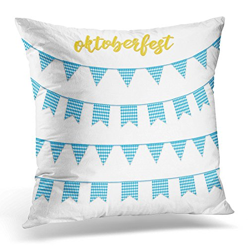 UPOOS Throw Pillow Cover White Fest Oktoberfest Buntings for Garland of Bavarian Checkered Blue Flag and Hand Lettering October Decorative Pillow Case Home Decor Square 18x18 Inches Pillowcase (Vintage Pennant Traditions)