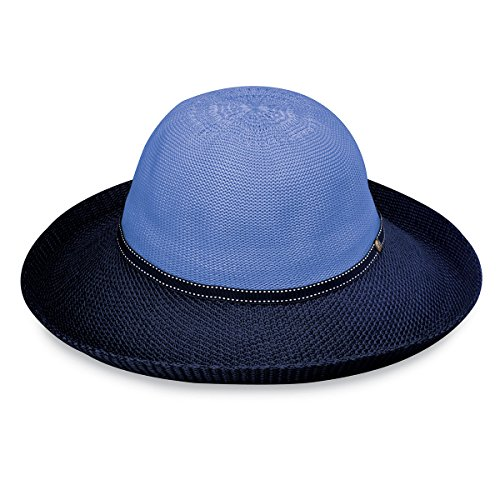 Wallaroo Hat Company Women's Victoria Two-Toned Sun Hat - UPF 50+ - Packable - Hydrangea/Navy (Hat Hydrangea)