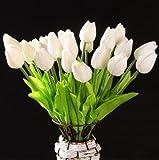 Decorazione della casa GODHL 10pcs Tulip Flower Latex Real Touch sposa tulipano bianco