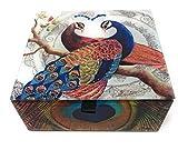 Value Arts Pair of Peacocks Glass Keepsake Box, Beveled Edges, Velvet Lined, 4.7 Inches Square