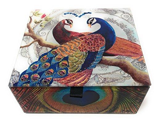 Value Arts Pair of Peacocks Glass Keepsake Box, Beveled Edges, Velvet Lined, 4.7 Inches Square (Peacock Decorative Items)