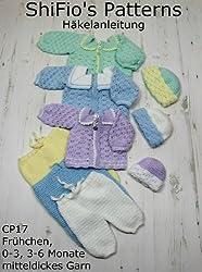 Häkelanleitung  -  CP17 - Set für Babys im Matrosendesign: Hose, Jäckchen, Mütze in 3 Größen