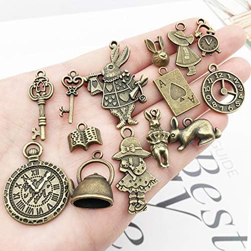 42 breloques de collier et bracelet en bronze antique Alice au pays des merveilles honggui 1111