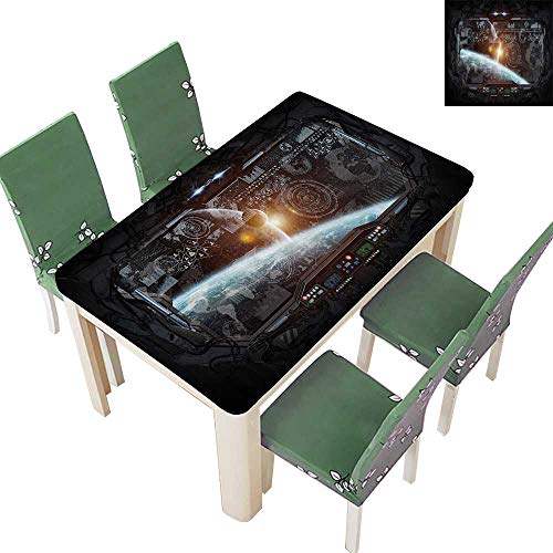 (Printed Fabric Tablecloth Ctrol Panel of Cockpit Screen in Spaceflight Androids World Stardust Washable Polyester 50 x 102 Inch)
