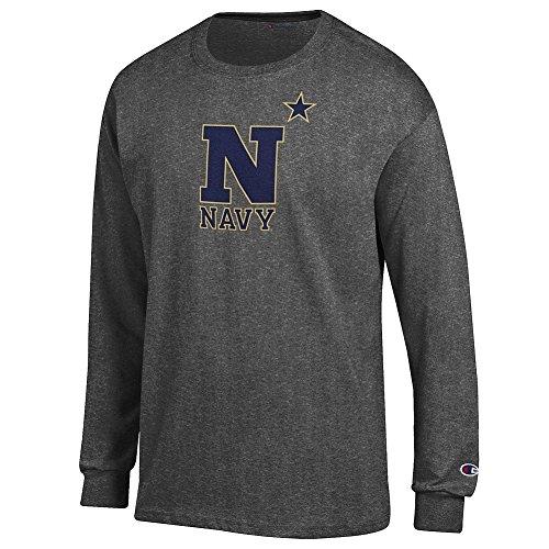 - Elite Fan Navy Midshipmen Men's Long Sleeve Arch Tee Shirt, Dark Heather, X Large