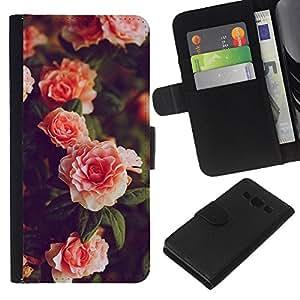 KLONGSHOP // Tirón de la caja Cartera de cuero con ranuras para tarjetas - Rosas Rosa Blanca de Bush Jardín - Samsung Galaxy A3 //