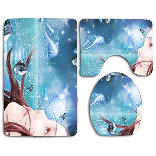 3 Piece Soft Area Rug Sets Includes Child of Eden Bathroom Mat Contour Rug Lid Toilet Cover for Bedroom Bathroom Kitchen Floor Mats Shower Rugs Set