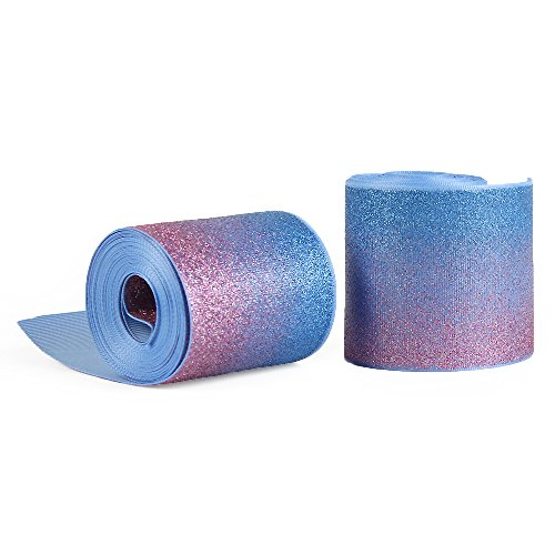 Gradient Shiny Glitter Grosgrain Ribbon 3 Wide for Handmade Hair Bow Clip Accessories and Festival Wedding Party Birthday Bridal Shower Decoration (5 Yards, Blue & Pink)