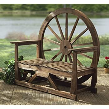 Amazon Com Wood Wagon Wheel Bench Outdoor Benches
