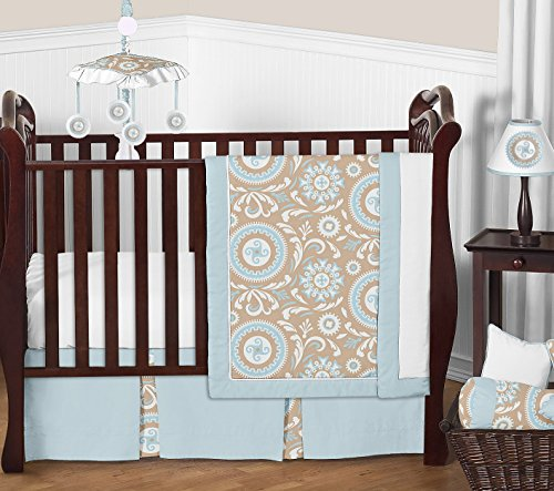 Blue and Taupe Hayden Gender Neutral Baby Bedding 11pc Girl or Boy Crib Set without bumper by Sweet Jojo Designs