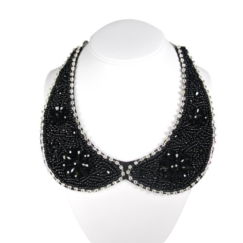 Beaded Peter Pan Collar Necklace with Flower Accents, Black