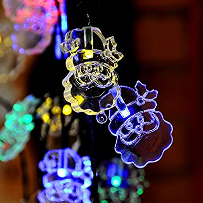 20 ft 30 LEDs Santa Claus Shape Solar String Lights, Solar Powered Waterproof for Indoor & Outdoor Christmas Tree Patio Gardens Home Party Decoration (Multicolor)