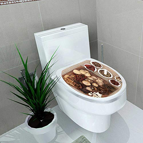 Decal Wall Art Decor Traditional Chinese herb Selection Used in Herbal Medicine on Maple Wood Board Toilet Decoration W11 x L13 - Maple Sushi Board