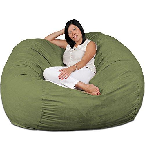 (FUGU Large Bean Bag Chair, Premium Foam Filled 5 XL, Protective Liner Plus Removable Machine Wash Lime Green)