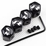 CHAMPLED New (4PC) for Volkswagen R LINE Styling Logo Metal Black Anti-Theft Wheel TIRE AIR Valve STEM CAPS DUST Cover