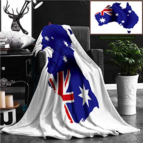"""Australia Blanket - Nalagoo Unique Custom Flannel Blankets Image Of Australia Flag Map Super Soft Blanketry for Bed Couch, Throw Blanket 60"""" x 40"""""""