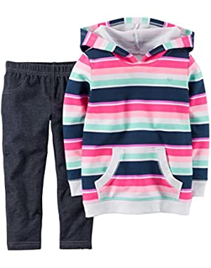 Carters Baby Girls 2-Piece Hooded Pullover & Jeggings Set Multi Stripe 9M