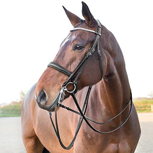 Horze BLACK Laelia Weymouth FULL/HORSE Bling Browband Supple Leather English Show Padded Noseband Bridle (Weymouth Bridle)