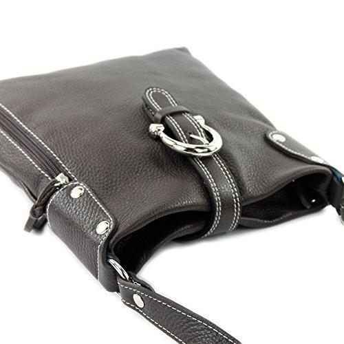 T04 Umhänge Leather De Shoulder Dunkelbraun Bag Ital Modamoda Hp1xnY
