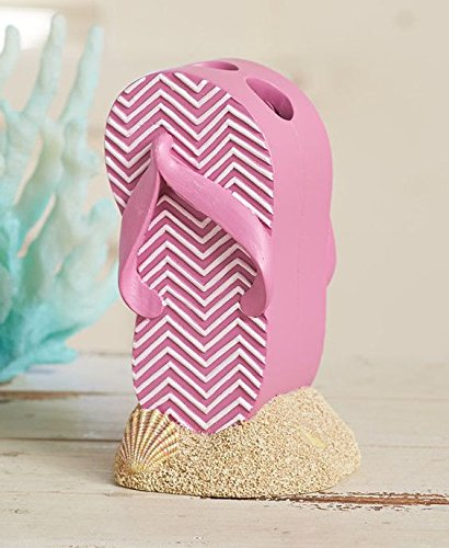 ftb Pink Beach Tropical Flip Flop Toothbrush Holder Bathroom Decor