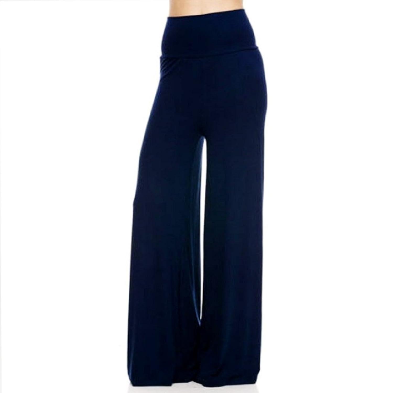 Vixen Clubwear Womens Plus Size Fold Over Palazzo Stretch Pants Navy