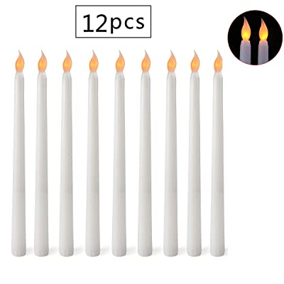 "Advocator Flameless LED Taper Candles Realistic & Bright Flickering Bulb Battery Operated 11"" Ivory LED Flameless Candles for Weddings, Candlelight Vigils, Hanukkah Menorahs and Christmas(Set of 12): Home Improvement"