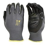 G & F 15196M Seamless Nylon Knit Nitrile Coated Work Gloves, Garden Gloves, Black, Medium, 6 Pair Pack
