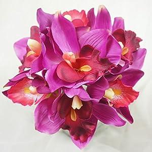 Lily Garden Mini 7 Stems Cymbidium Orchid Bundle Artificial Flowers (Magenta) 3