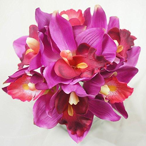 Lily-Garden-Mini-7-Stems-Cymbidium-Orchid-Bundle-Artificial-Flowers-Magenta