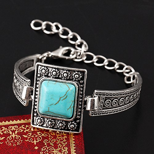 7 The new European and American retro turquoise bracelet small flower clouds texture square silver bangle bracelet Thai Foreign Trade
