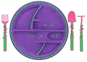 Constructive Eating - Garden Fairy Utensil Set with Garden Plate (Personalized)