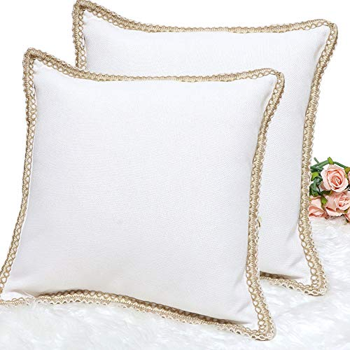 CDWERD 2pcs Farmhouse Pillow Covers Burlap Throw Decorative Pillows for Couch 18x18 Inches (Custom Covers Pillow Made)
