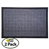 SafetyCare Heavy Duty Cross Hatch Design Rubber Doormat - All Weather Conditions Door Mat - Durable Design Gray Entrance Mat - 24 x 16 Inches - 2 Pack