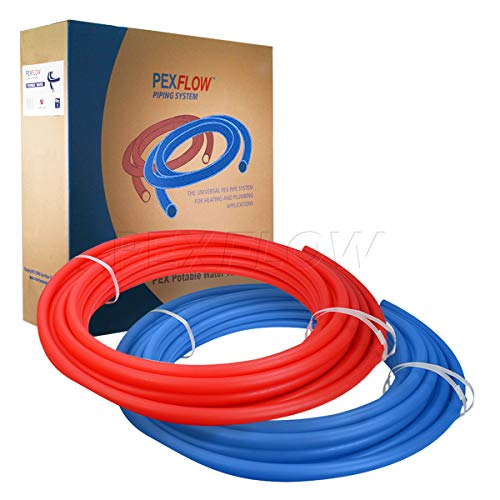 (Pexflow PXKT-RB10034 PEX Potable Water Tubing Combo Non-Barrier Pipe for Residential or Commercial, 3/4 Inch x 100 Feet (1 Red + 1 Blue))