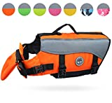 Vivaglory Dog Life Jackets with Extra Padding for Dogs, X-Small - Extra Reflective Orange