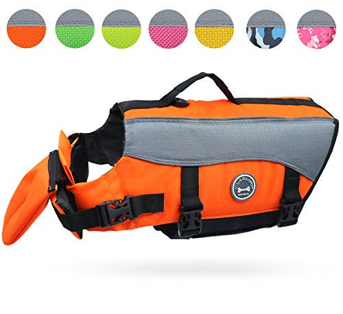 Vivaglory Dog Life Jackets with Extra Padding for Dogs, Large - Extra Reflective Orange