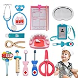 Tresbro Wooden Toys Doctor Set ,15 Pieces Dentist Kit Kids, Funny Dentist Pretend Play Medical Kit Stethoscope Kids Doctor Roleplay Costume Dress-up