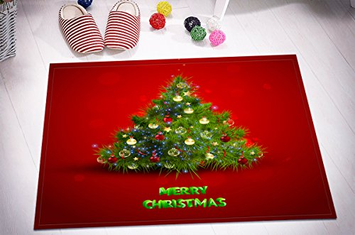 P/b Decorative Glass Doors - Merry Christmas Season Eve New Year Decorative Decor Gift Stylish Bath Rugs 3D 16x24 Inch Customized Personality Red Background Green Tree Decorations Outdoor Indoor Front Door Mat Non-slip Bath Mat
