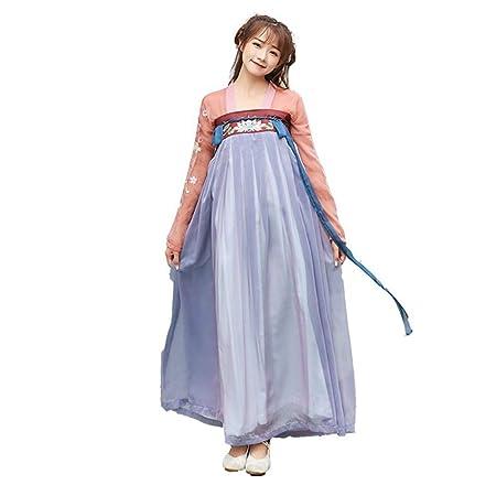 YCWY Traje Vintage para Mujer, Vestido Chino de Manga Larga ...