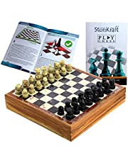 "StonKraft Chess Board with Wooden Base with Stone Inlaid & Stone Piece Game Set (Size 8"" X 8"")"