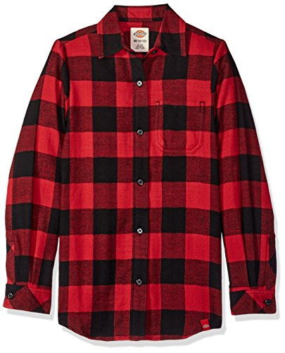 Dickies Big Girls' Long Sleeve Flannel Shirt, Plaid English Red Black, L -