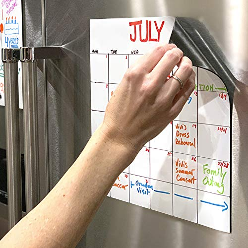 🥇 mcSquares Stickies Reusable Whiteboard Stickers – Large Dry-Erase Sticky Note Decals – 11 inch Square 2 Pack – Great for Stainless Frigde Lists