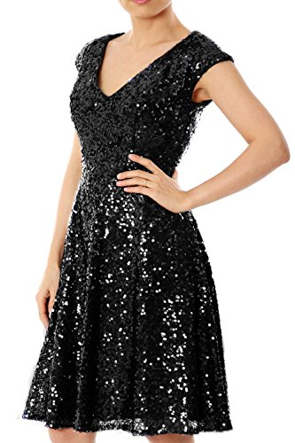 MACloth Women Cap Sleeve V Neck Sequin Short Bridesmaid Dress Formal Party Gown (16w, Black)