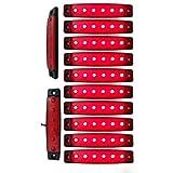 """YUK 10 pcs 3.8"""" 6 LED Side Led Marker Trailer marker lights for trucks, Marker light amber, Rear side marker light, Truck cab marker lights, RV marker light (Red)"""