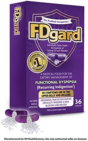 FDgard® for Functional Dyspepsia (Recurring Indigestion) Symptoms Including, Abdominal Discomfort, Difficulty Finishing a Meal, Bloating, Nausea, 36 Capsules