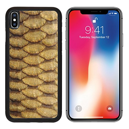 MSD Premium Apple iPhone X Aluminum Backplate Bumper Snap Case IMAGE ID 20529592 Gold carp scales close up