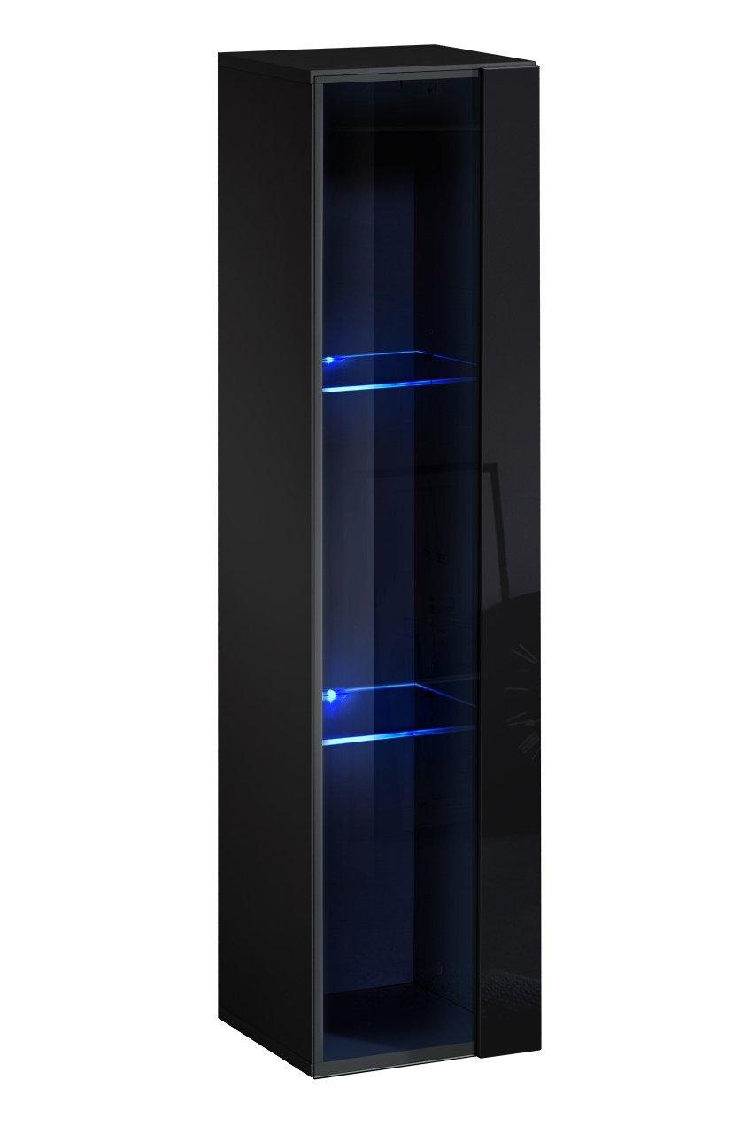 muebles bonitos Lettiemobili – Mobile pensile Verticale Modello Berit 30x120 in Colore Nero con LED